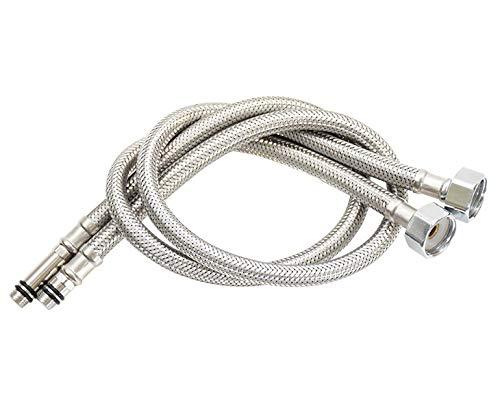 Homovater - Juego de 2 conectores monomando monobloque M10 x 500 mm 1/2 BSP flexibles para grifos de lavabo MonoBlock y cocina (plata), 800 mm