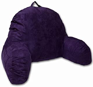 Purple Microsuede Bed Rest Reading Pillow & Support Bed Backrest Pillow With Arms - Bedrest Pillow, Bed Rest Lounger Makes A Comfy And Therapeutic Cuddle Buddy, Bed Pillow For Sitting Up