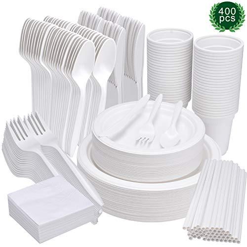 400 pezzi di stoviglie usa e getta, piatti biodegradabili compostabili ecologici di canna da zucchero bagassa set di stoviglie include piatti tovaglioli coltelli forchette cucchiai tazze cannucce