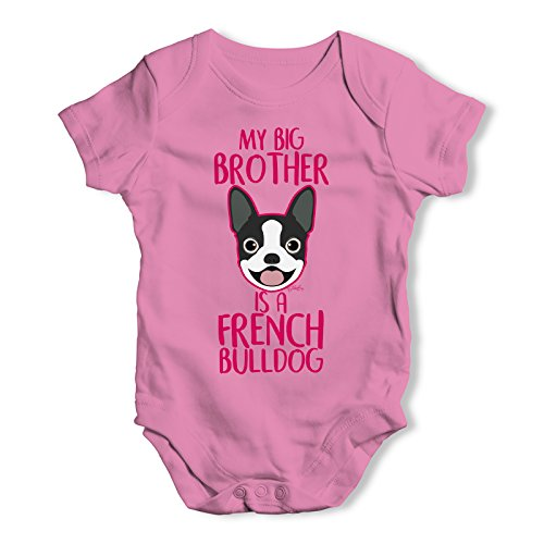 Twisted Envy My Big Brother is A French Bulldog Infant Creeper Bodysuit Onesie Pink 3-6 M