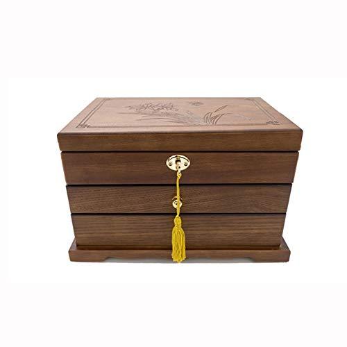 Caja de joyería caja de almacenamiento de madera caja de joyas de la joyería con cerradura pendientes de terciopelo joyas caja de casa retro collar de la joyería pulsera indicación de la caja decorati