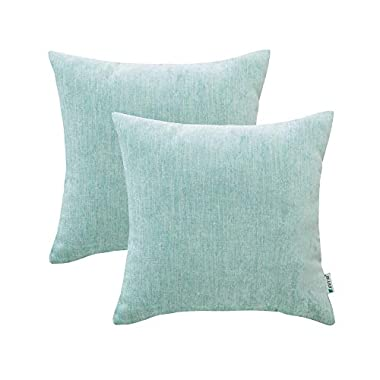 HWY 50 Cotton and Linen Soft Comfortable Natural Soild Decorative Throw Pillow Covers Sets Cushion Case for Couch Sofa Bed Living Room Aqua 20 x 20 Inches 50 x 50 cm Pack of 2