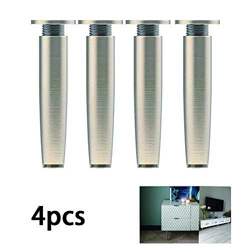 4 stuks zinklegering kast voeten met 38mm brede cilindrische behuizing voet 8-15cm hoge spiegel poten voor TV-meubel koffietafel slaapbank kast, geborsteld,15cm