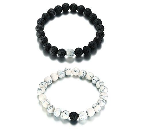 VNOX 2 Stück Sein Ihr schwarzer Lava Stein weiß Türkis Perlen Stein ätherisches Öl bescheiden hoffnungsvolle elastische Seil Kette Armband für Paare