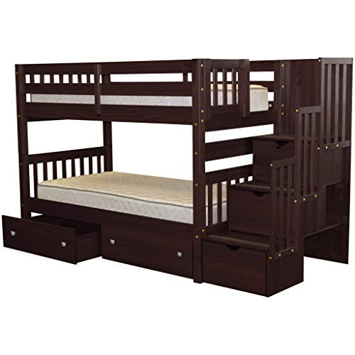 Bedz King Stairway Bunk Beds Twin over Twin with 3 Drawers...