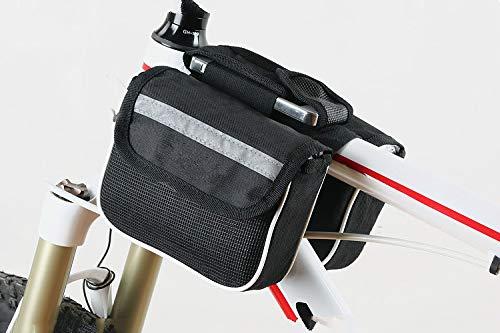 Borsone per telaio della bicicletta, borsa anteriore per bicicletta, triangolo, borsa per il telaio della sella anteriore, per attività all'aperto, mountain bike, Crossbar, con strisce riflettenti