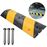 """Scinotec 40"""" Rubber Speed Bumps 1 Pack 2 Channel Heavy Duty Speed Humps with Bolt..."""