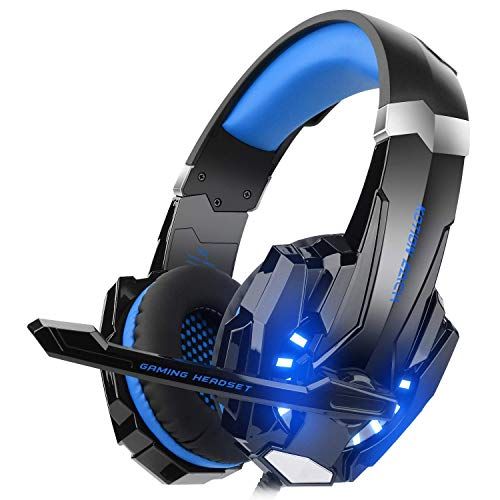 DIZA100 Kotion Each G9000 Gaming Headset Headphone 3.5mm Stereo Jack with Mic LED Light for Xbox One S/Xbox one/PS4/Tablet/Laptop/Cell Phone (Blue.) Headsets