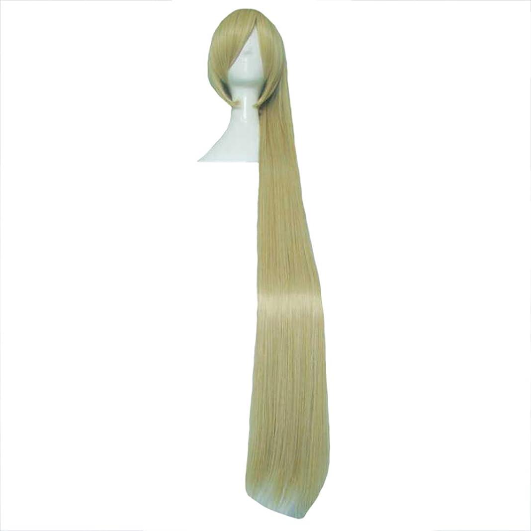 テスピアン付属品視線ウィッグファッションロングストレート高温シルクウィッグシンプルなパーソナリティポニーテール自然にソフトと耐熱性コスプレハロウィーンダンスパーティーに適した形状に自由に金120cm (色 : ゴールド, サイズ さいず : 120cm)