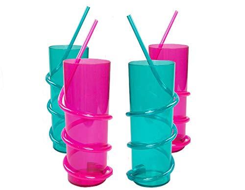 Juego de 4 vasos de paja de plástico para niños, con pajitas integradas, 250 ml, colores brillantes, ideales para cocinas, fiestas, picnics, barbacoas, cumpleaños