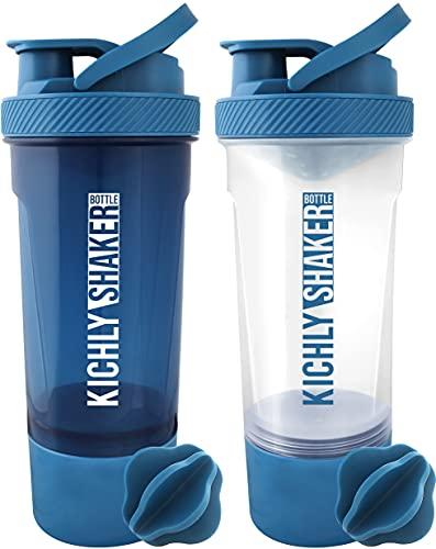 KICHLY (Set de 2) Botella shaker proteinas con batidor Blenderball clásica (700 ml) - Tapa antiderrames con Envase de almacenamiento suplementos - Perfecto para Entrenamiento (Negro y Claro)