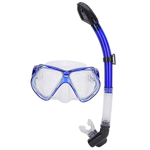T best Snorkel Set, Anti-Fog Swimming Goggles Full Dry Breathing Tube Snorkel Equipment Professional Large Frame Diving Goggles(Blue)