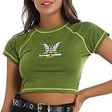 ranrann Mujer Camiseta Manga Corta Y2K 90s Vintage Top Corto Camiseta Corta Streetwear Sexy Verde M