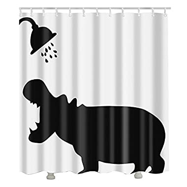 Hoomall Hippo Shower Decorative Waterproof Muilt Function Fabric Shower Curtain 70x70 Inches