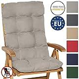 Beautissu Cojín para sillas de balcón Flair HL - Cojín para Asiento Exterior con Respaldo Alto - 120x50x8 cm - Relleno de Copos de gomaespuma - Gris Claro