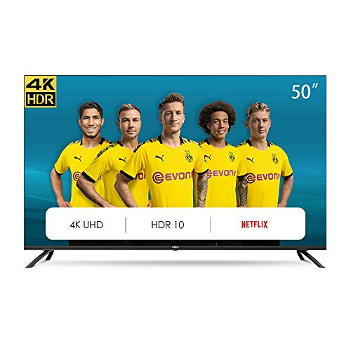 CHiQ U50H7L Rahmenloser UHD Fernseher 50 Zoll TV 4k Randlos Smart TV 126 cm Bilddiagonale [Made in EU] (Version 2020, Ultra HD, Amazon Prime Video, Youtube, Netflix) , Schwarz