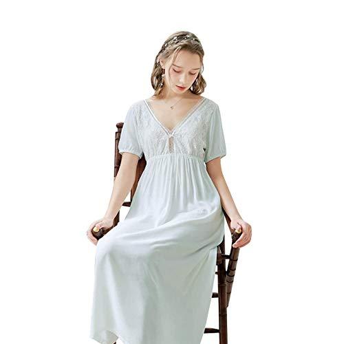 AZHLUF Camisón Victoriano Mujer Pijama de Manga Corta de Talla Grande camisón de algodón Sexy sin Espalda de Encaje Princesa Servicio a Domicilio (Color : Blue, Size : Medium)