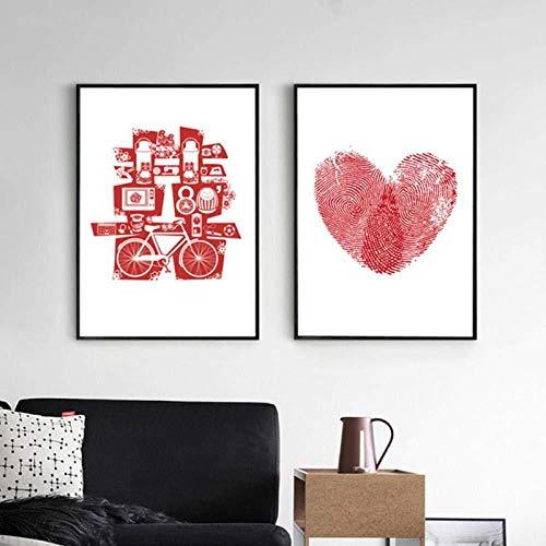 NR 2 Piezas nórdico decoración del hogar Pintura Elementos de la Boda Doble Felicidad Huella Digital Amor Pared Lienzo Cuadros Arte Cartel 50x70 cm sin Marco