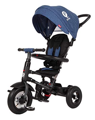 Q-Play Qualitäts Kinder Dreirad Rito AIR Deluxe Blau Sondermodell mit Luftreifen, klappbar