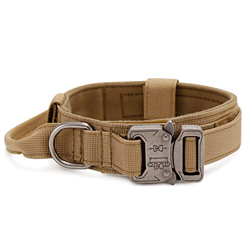 G-raphy Collares Tácticos para Perros, Nailon Militar Ajustable con Hebilla de Metal en D para Entrenamiento de Perros, Colección de Collares para Perros Pequeños Medianos y Grandes (L, Marrón)