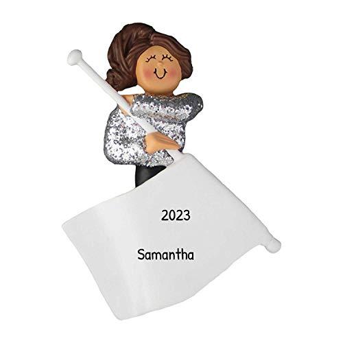 Personalized Flag Girl Christmas Tree Ornament 2021 - Brunette Girl Spins Glitter Silver Uniform Team Sabres High School Rhythmic Gymnast Dance Color Guard - Free Customization (Brown Hair)