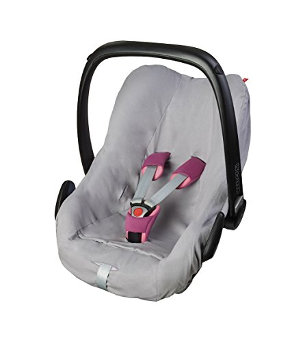 ByBoom - Universal Sommerbezug, Schonbezug aus 100% Baumwolle, für Babyschale, Autositz, z.B. Maxi Cosi CabrioFix, City, Pebble; Designed in Germany, MADE IN EU, Farbe:Hellgrau