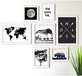 Kit de Quadros Decorativos 7 Peças Natureza Los Quadros Branco