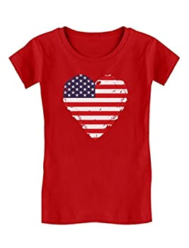 Patriotic Top 4th of July USA Heart Flag Toddler Kids Girls  Fitted T-Shirt 5/6 Red