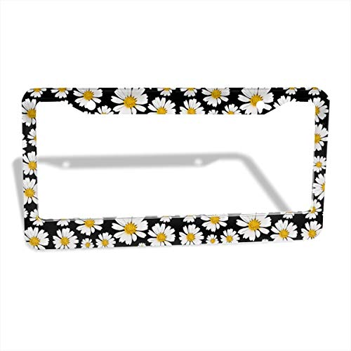 Jpnvxie Daisy License Plate Frame Car Plates Tags Auto Tag 2 Holes with Screw Personalized Car Decoration (2 Pack)