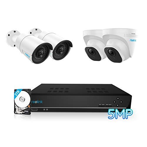 Reolink 5MP Kit Videosorveglianza PoE, 8CH 2TB 4K NVR con 4X 5MP Telecamera Esterno IP PoE Impermeabile, Visione Notturna di 30 Metri, Rilevazione del Movimento, Registrazione 24 7, RLK8-520B2D2-5MP