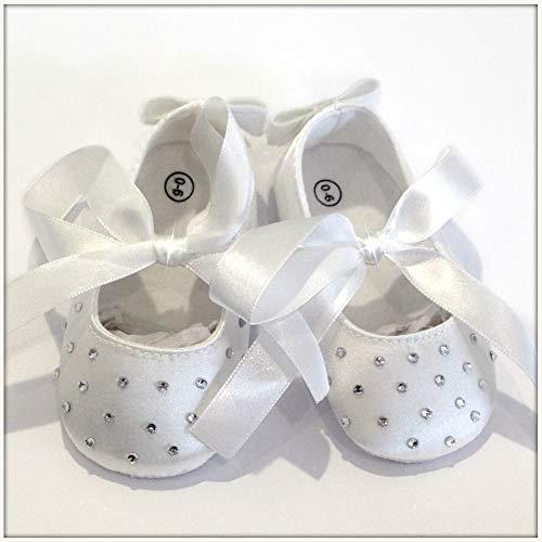 Ballettschuhe für Neugeborene, Weiß, klassisch oder mit Kristallsteinen besetzt, Babyschuhe für Taufe, Hochzeit, Geburt, 10,5 cm, Brillabenny (0-6 Monate mit Strass)