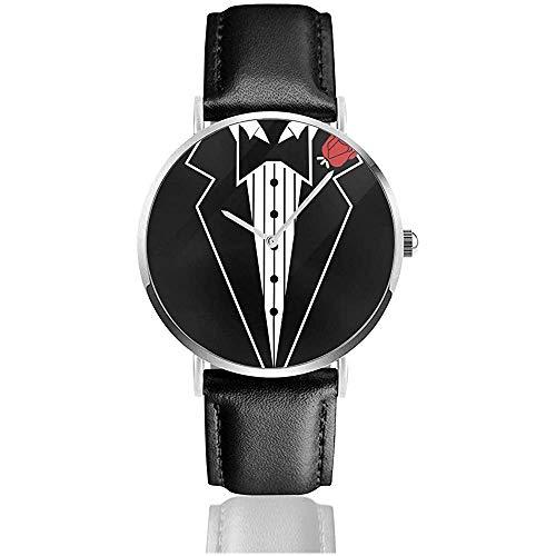 Smoking Krawatte Gentlman Watch Men 'S Edelstahl Quarzuhr Mit Pu Lederband Unisex