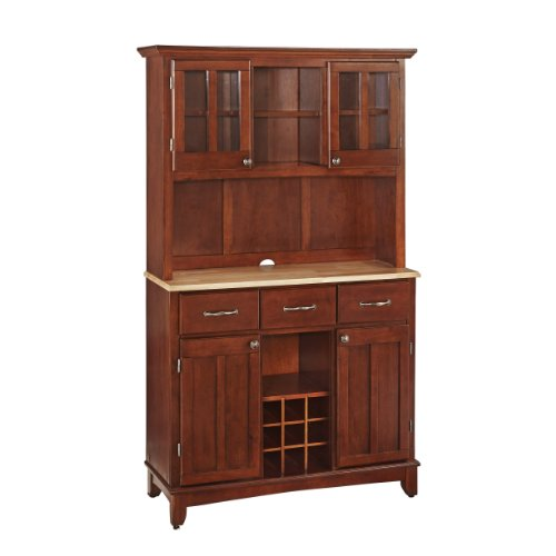 Home Styles Large Buffet of Buffets and Hutch with Cherry Finish with Natural Wood Top, Three Utility Drawers, Two Framed Cabinet Doors, Optional Wine Storage, Plexiglas Doors, Plenty of Adjustable Storage
