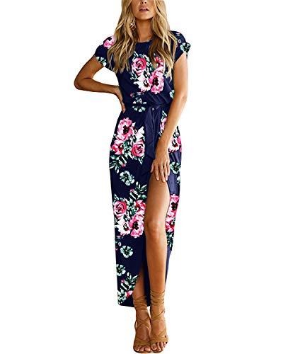 YOINS Sommerkleid Damen Lang Maxikleider für Damen Strandkleid Sexy Kleid Kurzarm Jerseykleider Strickkleider Rundhals mit Gürtel Blumen-blau XL