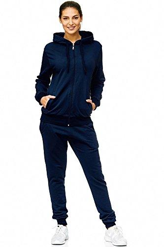 Violento Damen Jogging-Anzug Uni 586 Trainings-Jacke mit Reißverschluss, Navy, Gr.- 3XL