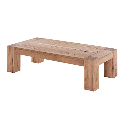 MÖBEL IDEAL Couchtisch Wohnzimmertisch Stubentisch Tisch Granby 140x70, Massivholz Holz Eiche massiv Balkeneiche Natural, Breite 140 cm, Tiefe 70 cm, Höhe 40 cm