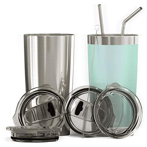 BluePeak Double Wall Stainless Steel Insulated Tumbler Set, 2-Pack. Includes Sipping Lids, Spill-Proof Sliding Lids, Straws, Cleaning Brush & Gift Box (20oz, Silver-Mint)