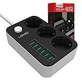Regleta Enchufes USB,3 Enchufes e Interruptor,con 6 Puertos de Carga USB,1.6 Metros linea, Regleta...