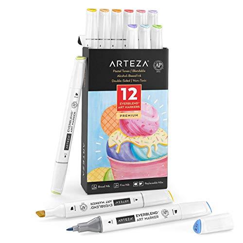 Arteza EverBlend Rotuladores de Arte, 12 colores pastel, rotuladores de alcohol de doble punta (biselada ancha + fina), para dibujar, colorear, rotulación manual y...