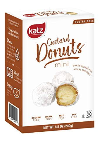 Katz Gluten Free Mini Custard Donuts | Dairy, Nut, Soy and Gluten Free | Kosher (1 Pack of 6 Donuts, 8.5 Ounce)