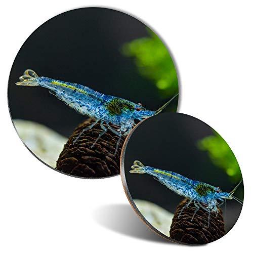 Juego de alfombrilla de ratón y posavasos – azul Aura camarón pecera tanque de 20 cm y 9 cm para ordenador y portátil, oficina, regalo, base antideslizante #44351