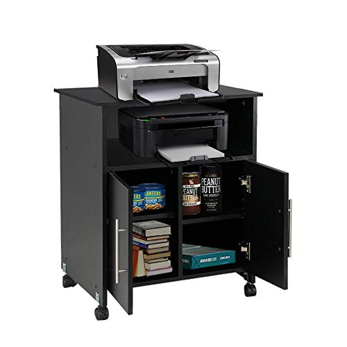 Topeakmart Rolling Collection Printer Stands Cart Storage Cupboard Black