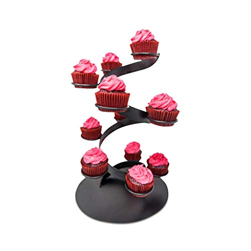Kwirkworks Black Cupcake Stand - Twisted Steel Cupcake Display Holder - Holds 12 Cupcakes