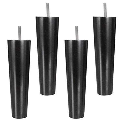 4x Kegelform Sofafuß Möbelfüße Stuhlfüße Schrankfüße Kommodenfüße Holzfüße - Schwarz, 4.5 * 6.5 * 20cm