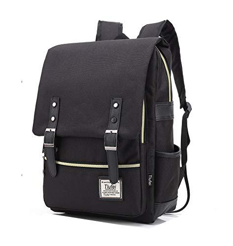 Tlufei Laptop Backpack for Women Men,Tear Resistant School College TravellingBackpack with USB Charging Port Vintage Backpack (Black)