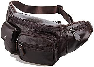 Leather Bag Mens Men's Chest Bag Practical Leather Waist Bag for The Week of Shopping Casual Small Pockets High Capacity (Color : Brown, Size : M)