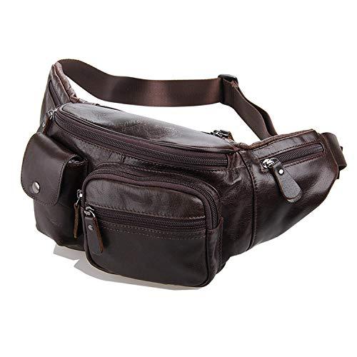 WENQU Herren Chest Tasche Pragmatische Ledergürteltasche for die Woche vom Einkaufen Gelegenheits Modest Taschen Sling Rucksack oder Gürteltasche for Männer (Color : Brown, Size : M)