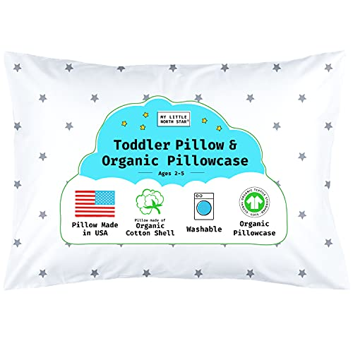 Toddler Pillow, Organic Cotton Shell Made in USA 13X18, GOTS Organic Pillowcase Included
