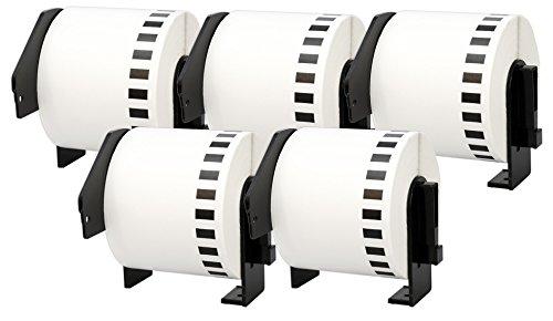 5X DK-22205 62 mm x 30,48 m Endlosetiketten Papier kompatibel für Brother P-Touch QL-1050 QL-1060N QL-1110NWB QL-1100 QL-500 QL-500BW QL-560VP QL-570 QL-580 QL-700 QL-710W QL-800 QL-810W QL-820NWB
