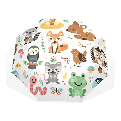 Jeansame Animal World Forest Fox Kikker Vogel Vouwen Paraplu Handmatige Zon Regen Paraplu Compacte Paraplu's voor Vrouwen Mannen Kid Jongen Meisje